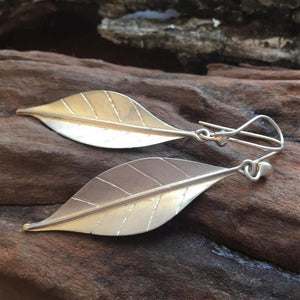 Leaf Earrings with French Hook, Large