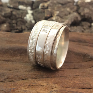 "Our Original ""Take Me Home"" GPS Spinner Ring Made in Silver"