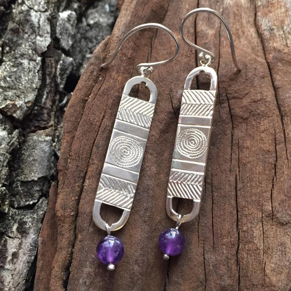 Ethnic Pattern and Amethyst Earrings
