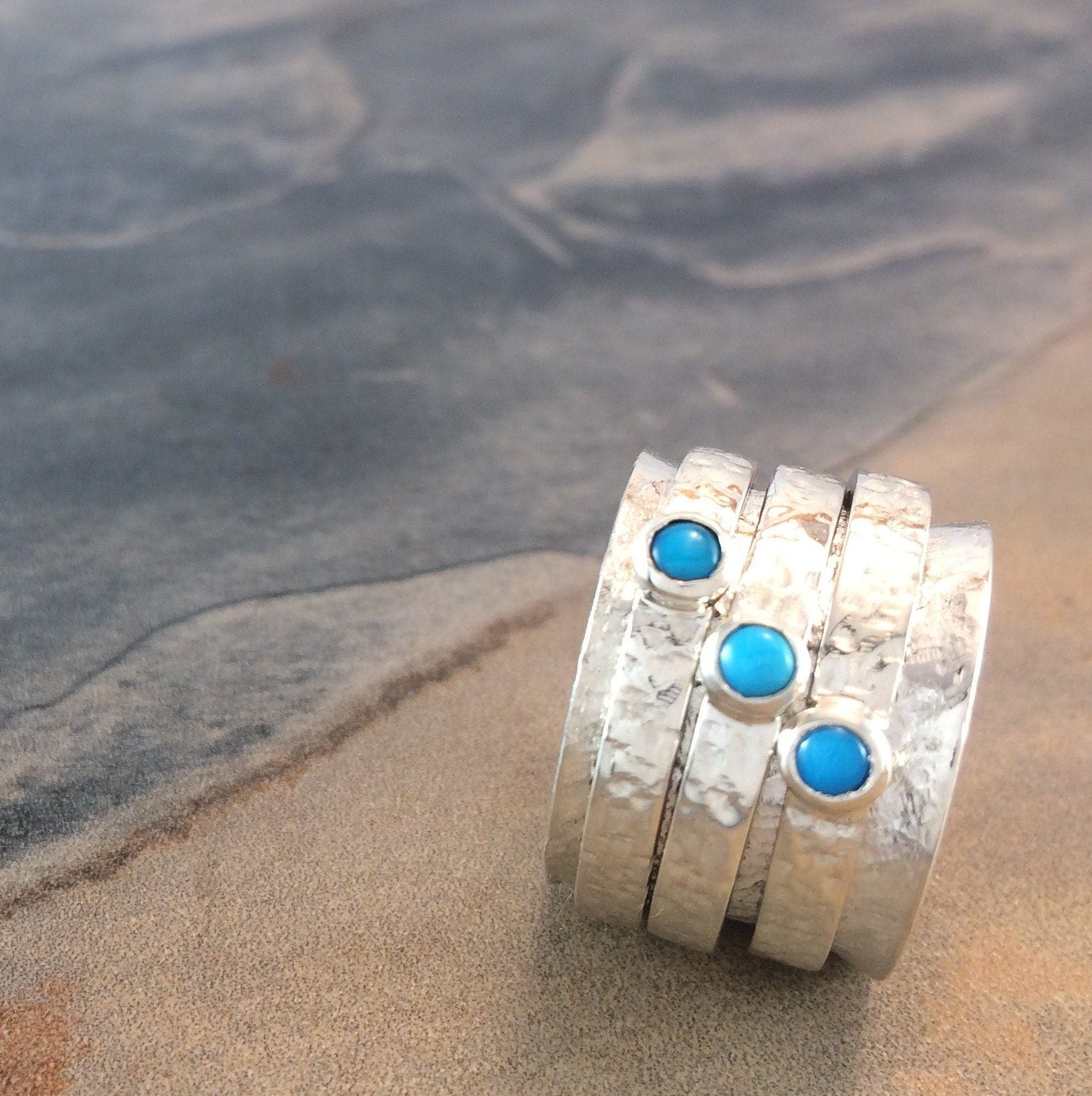 Turquoise and Silver Spinner Ring