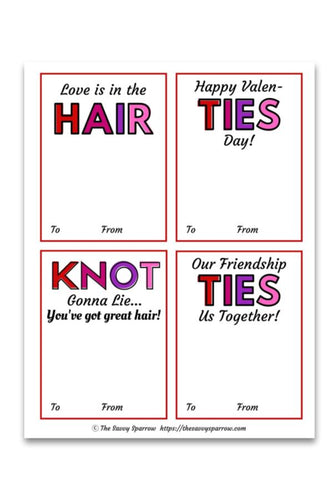 Printable Valentines Cards for Hair Ties