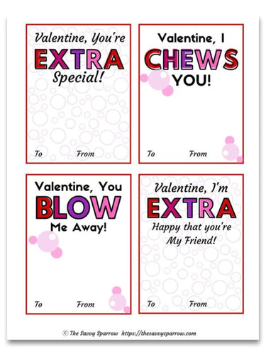 Printable Bubble Gum Valentines Cards