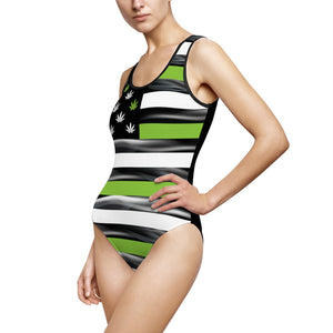 American Canna Flag One Piece Cannabis Swimsuit