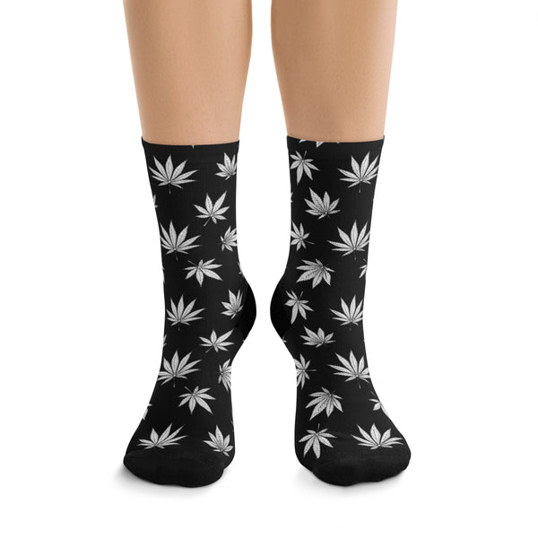 BLACK AND WHITE WEED SOCKS