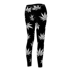 Black & White Weed Leaf Pattern Cannabis Leggings