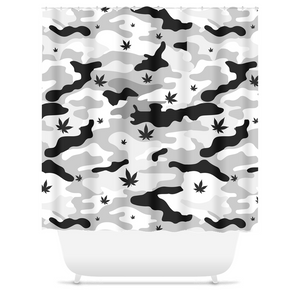 Black & White Weed Leaf CANNO Cannabis Shower Curtain