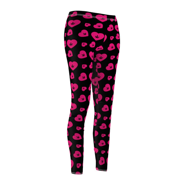 WEED HEART LEGGINGS (BLACK & PINK)