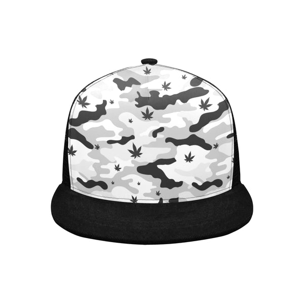Black and White Camouflage Cannabis Trucker Hat