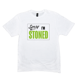 SORRY I'M STONED - WHITE TEE - GREEN (UNISEX)