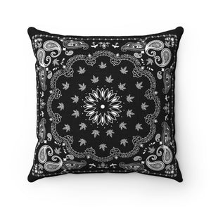 BLACK WEED BANDANA THROW PILLOW