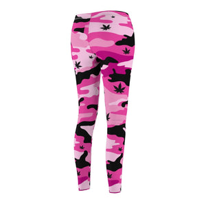 Pink Canno Weed Leaf Pattern Leggings