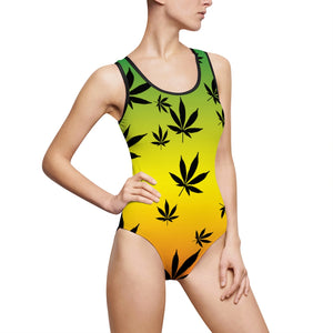 Rasta One Piece Weed Leaf Cannabis Swimsuit