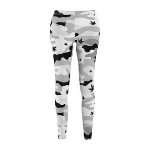 Black and White Canno Weed Leaf Pattern Leggings