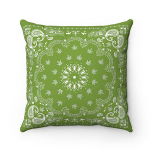 GREEN WEED BANDANA THROW PILLOW