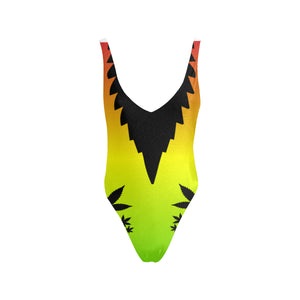 Rasta Weed Leaf One Piece Cannabis Swimsuit - Halter Straps Backless Swimsuit
