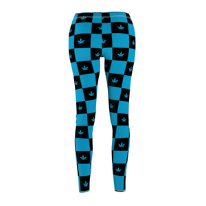 Blue Checkerboard Cannabis Leggings