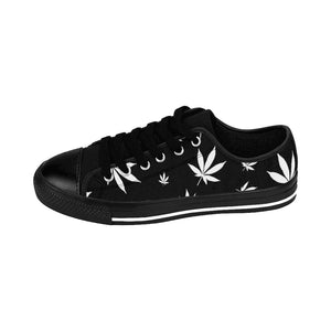Black Weed Leaf Pattern Men's Cannabis Sneakers
