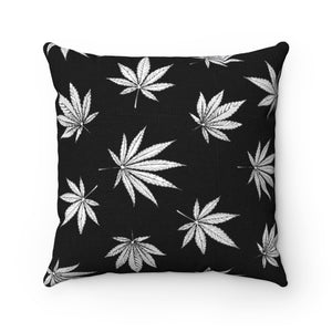 BLACK & WHITE WEED LEAF PATTERN THROW PILLOW