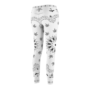 White Bandana Cannabis Leggings
