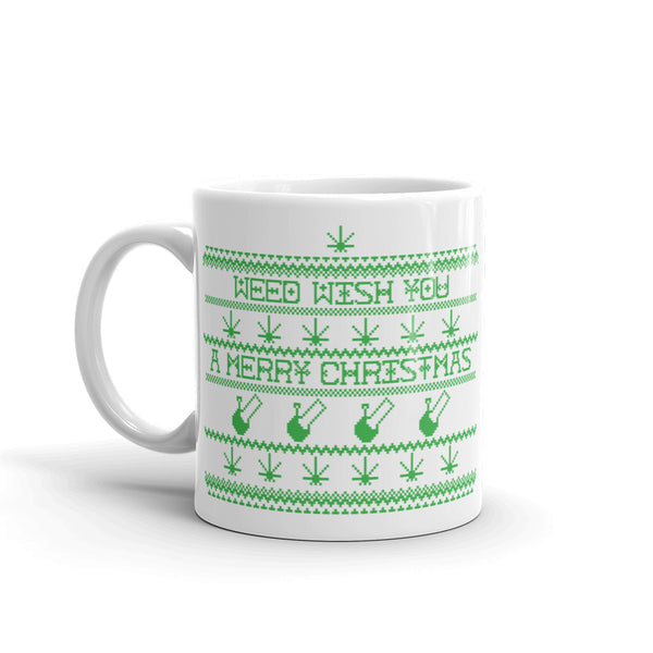 """WEED WISH YOU A MERRY CHRISTMAS"" CANNABIS MUG (GREEN)"