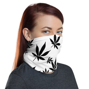 Black and White Leaf Pattern Cannabis Neck Gaiter