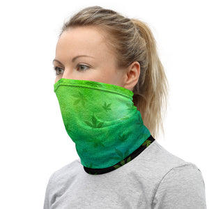 Weed Leaf Watercolor Cannabis Neck Gaiter