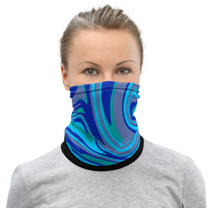 High Dye Blue Swirls Cannabis Neck Gaiter