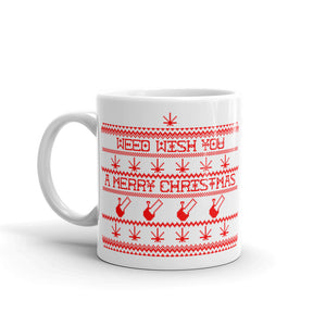"""WEED WISH YOU A MERRY CHRISTMAS"" CANNABIS MUG (RED)"