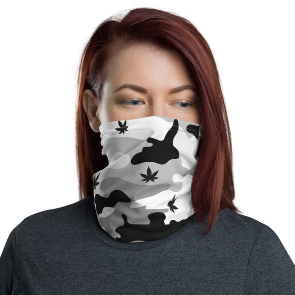 Black & White Canno Cannabis Camouflage Neck Gaiter / Face Mask