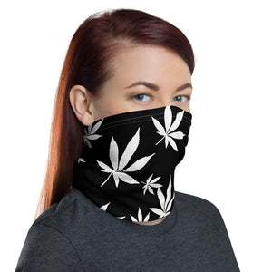 White and Black Weed Leaf Pattern Cannabis Neck Gaiter