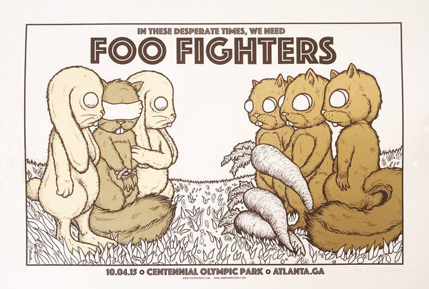 Foo Fighters - Atlanta, GA - 10.04.15 (The Exchange) green on one side TEST