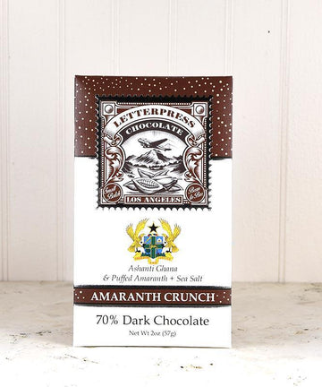 Letterpress Amaranth Crunch 70% dark chocolate
