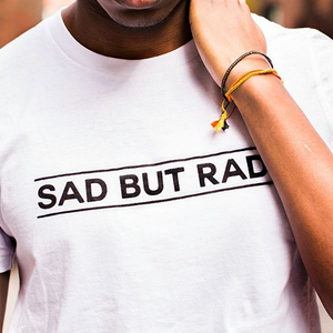 Sad But Rad Unisex Tee in White.