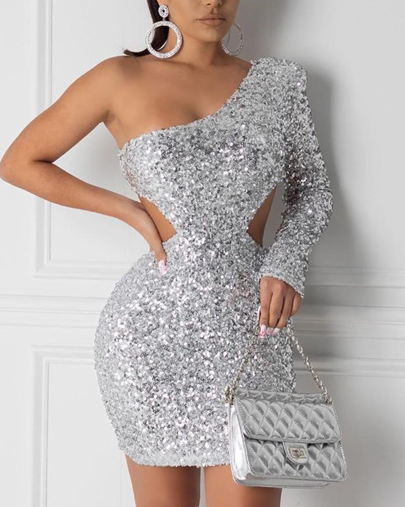 One Shoulder Cutout Sequin Dress