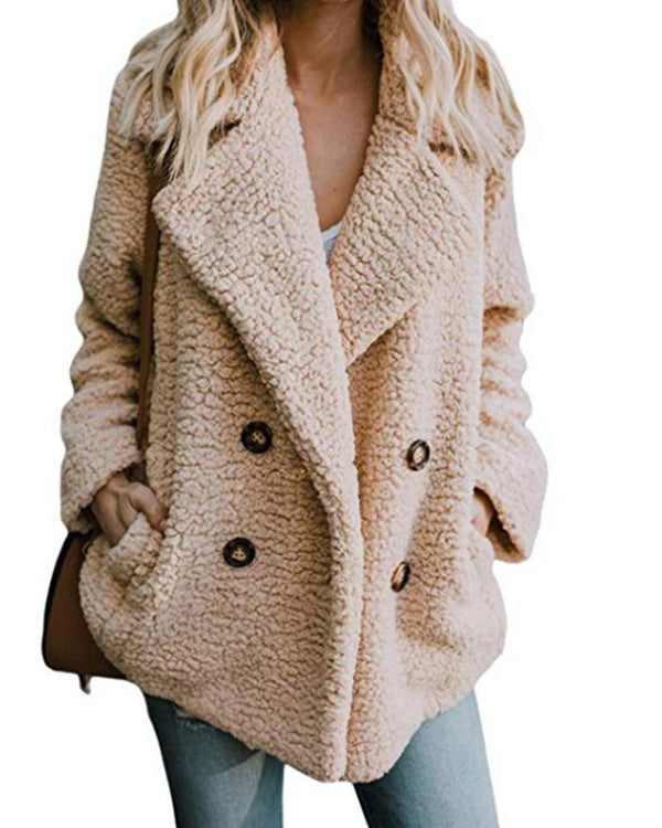 Double-Pocket Faux Shearling Coat