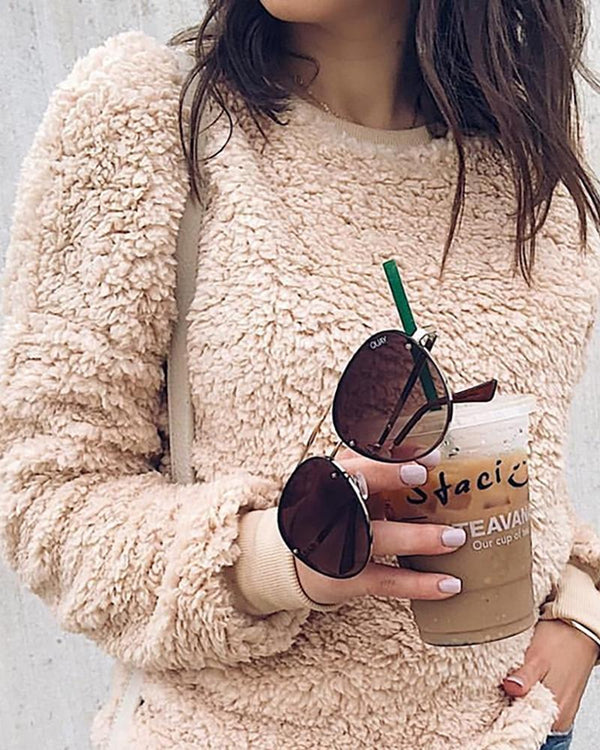 Round Neck Fluffy Casual Sweatshirt