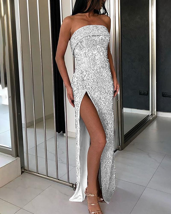 Glitter Tube High Slit Sequins Dress