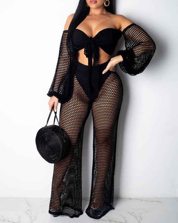 Sheer Off Shoulder Fishnet Crop Top & Pant Sets