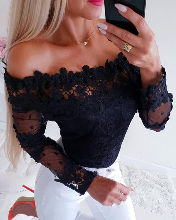 Off Shoulder Mesh Lace Trim Casual Blouse