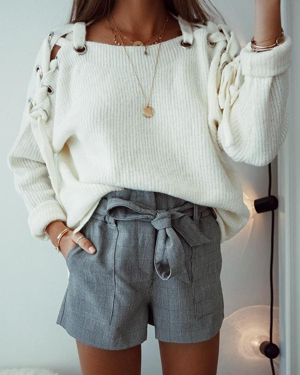 Grommet Lace-Up Shoulder Casual Sweater