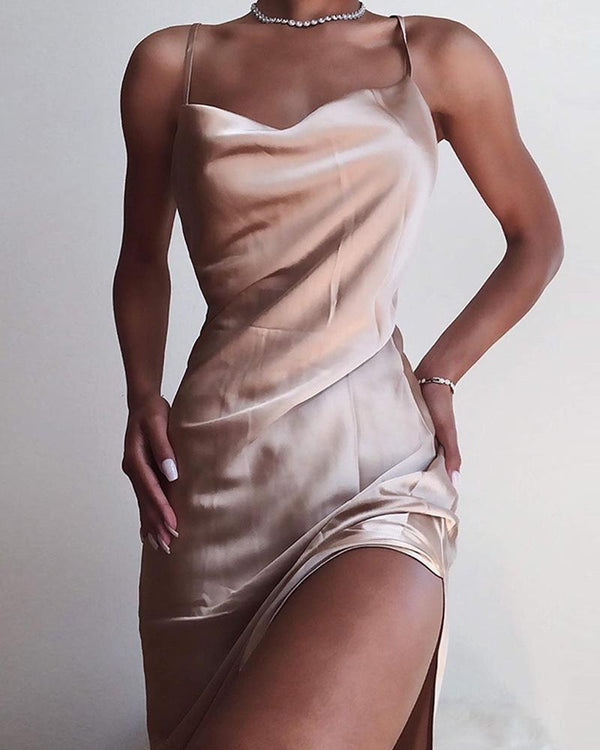Champagne Gold Satin Slip Dress