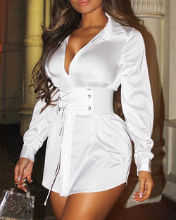 Eyelet Lace-Up Tight Waist Shirt Dress