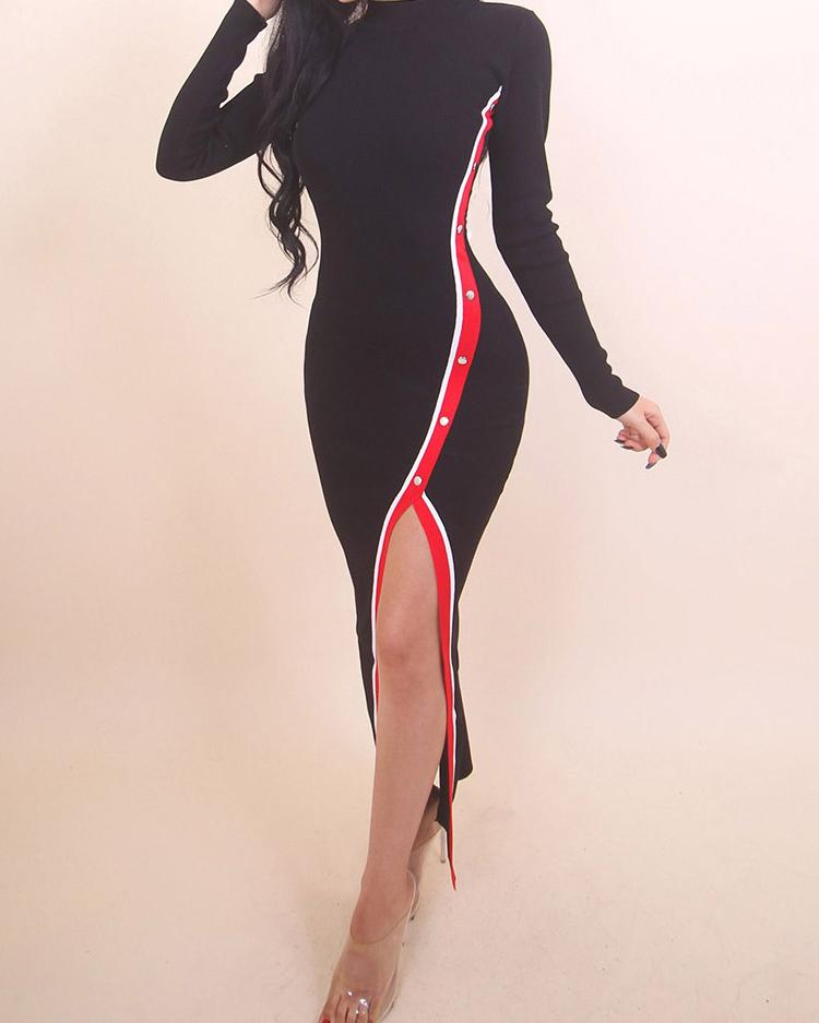Stripes Tape Button Slit Side Bodycon Dress
