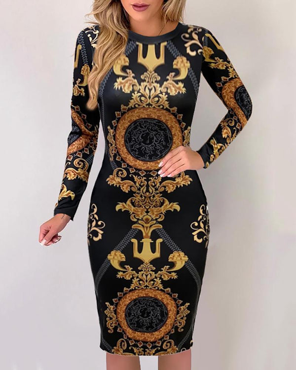 Baroque Print Long Sleeve Midi Dress