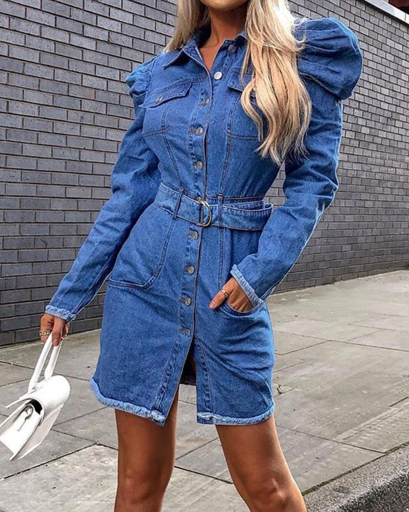 Button-Up Denim Shirt Dress