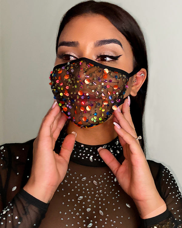 Sequins Sheer Mesh Breathable Ear Loop Mouth Mask Reusable