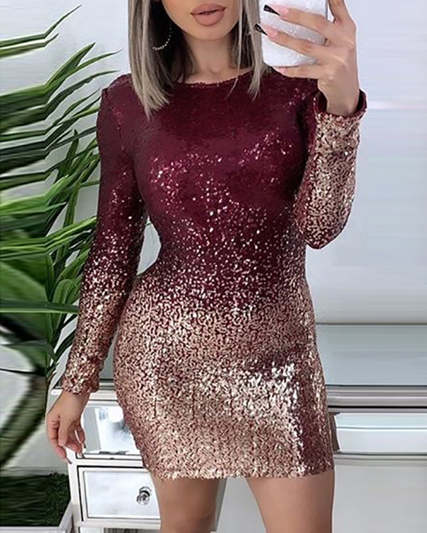Glitter Colorblock Backless Long Sleeve Sequins Bodycon Dress
