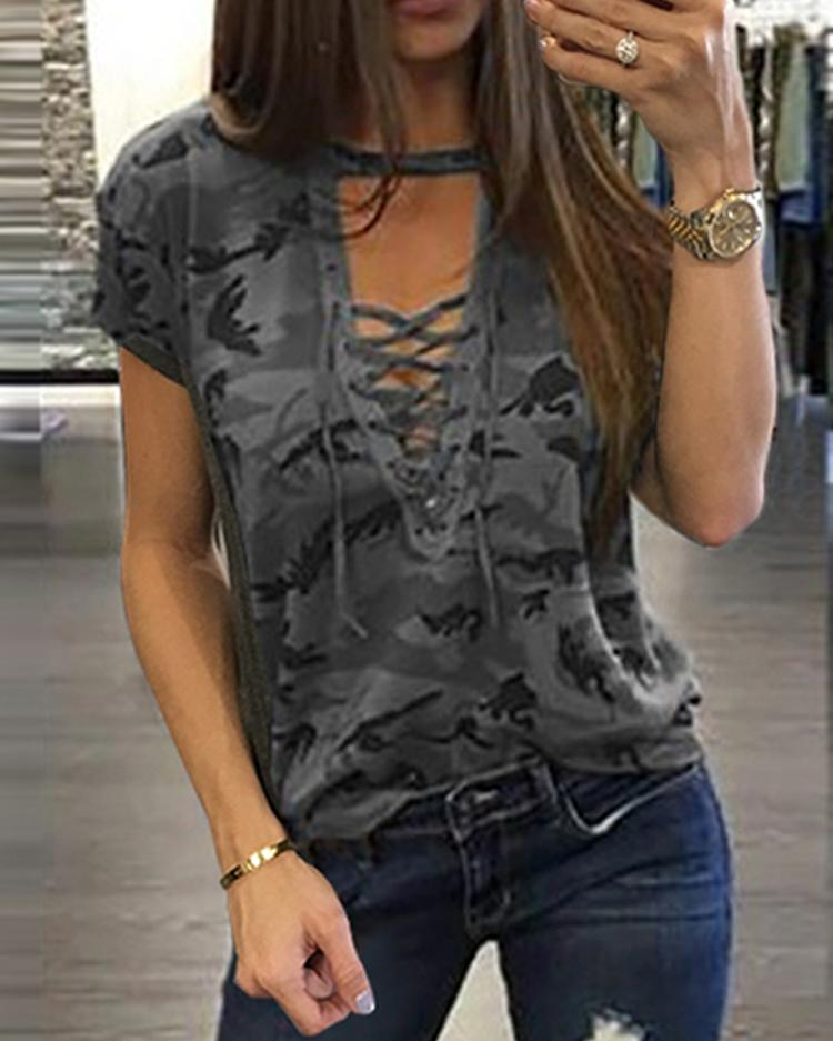 Eyelet Lace-up Casual Top