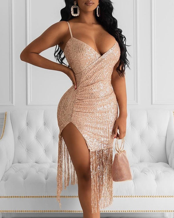 Sequins Spaghetti Strap Tassel Design Backless Slit Dress