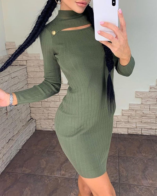 High Neck Cut Out Long Sleeve Ribbed Bodycon Dress